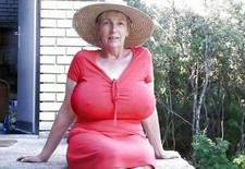 Boobed old lady in the red